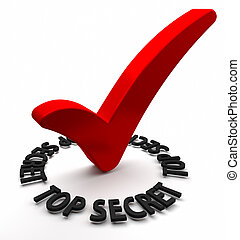 Top Secret - Red check mark with 3D text. Part of a series.