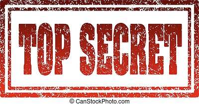Top secret red rectangular rubber stamp.