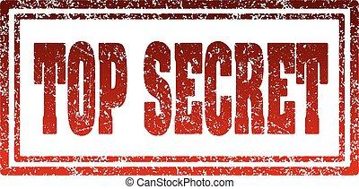 Top secret red rectangular rubber stamp.