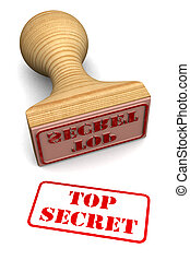 Top secret stamp test on white paper (High resolution 3d...
