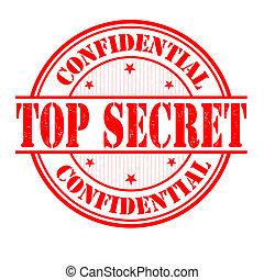 Top secret grunge rubber stamp on white, vector illustration