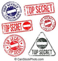 Top Secret Stamps - Rectangular and round top secret rubber...