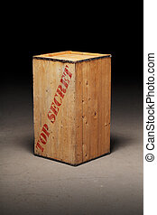 "Top Secret - Old wooden crate with text ""Top Secret\"" on..."