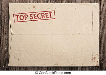 top secret, table., enveloppe, sommet, ouvert