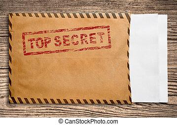 top secret, timbre, papers., enveloppe, sommet, vide