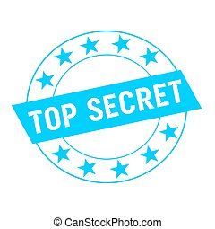 top secret white wording on blue Rectangle and Circle blue stars