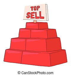 Top sell products icon, cartoon style