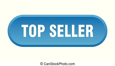 top seller button. top seller rounded blue sign. top seller
