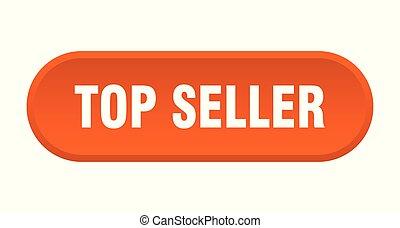 top seller button. top seller rounded orange sign. top seller