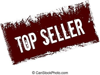 TOP SELLER on red retro distressed background.