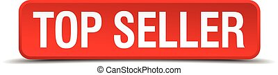 Top seller red 3d square button isolated on white