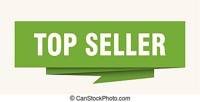top seller sign. top seller paper origami speech bubble. top...
