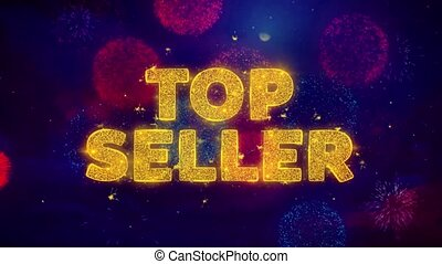 Top Seller Text on Colorful Firework Explosion Particles. Sale, Discount Price, Off Deals, Offer promotion offer percent discount ads 4K Loop Animation.