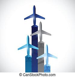 top., set, piani, illustrazione, volare