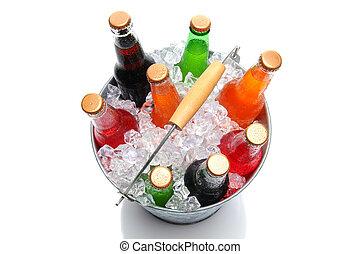 Top Shot Of a Bucket of Soda Bottles
