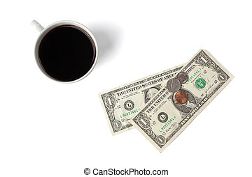 top shot of coffee cup with money