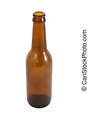 Top side brown bottle on white background.