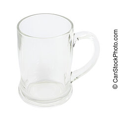 Top side of empty glass with handle on white background.