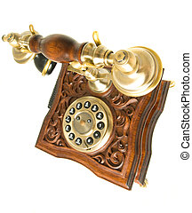 Top side view of old telephone