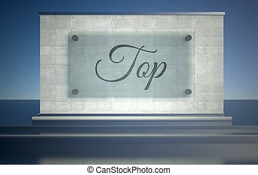 Top sign stone podium pedestal