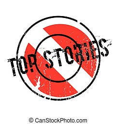Top Stories rubber stamp. Grunge design with dust scratches...