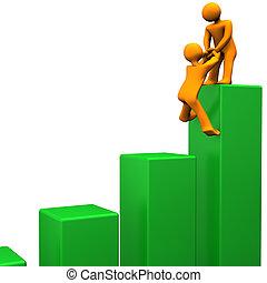 Top Success - Orange cartoon characters attain the summit of...
