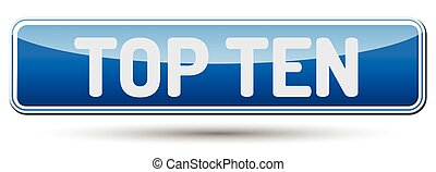 TOP TEN - Abstract beautiful button with text.