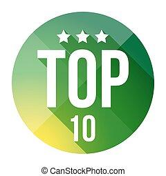 Top Ten button vector green