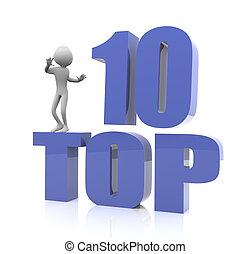 Top Ten - 3D man with top 10 reflective text