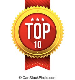 Top Ten gold button vector