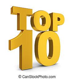 Top ten. 3d illustration on white background