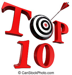 top ten red word with target and arrow on white background. ...