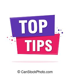 Top tips sign label speech bubble sign. Origami style banner. Vector illustration