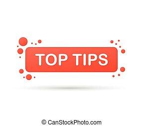 Top tips. Speech bubbles. Web banner. Vector illustration.