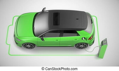 Top to side view of a green modern electric self driving car charging. 4K