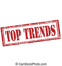 Top Trends-stamp - Grunge rubber stamp with text Top Trends...