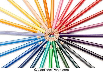 top udsigt, i, farve, blyanter, stjerne