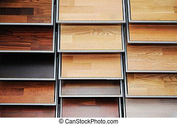 top, udsnit, i, adskillige, farve palette, -, træagtigt gulv