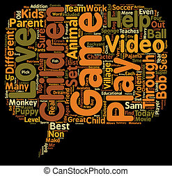 Top Video Games For Children Ages text background wordcloud...