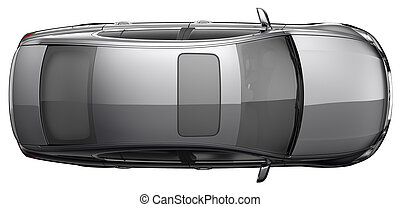 Top view a black sedan car - black sedan car on a white ...