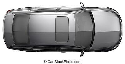 Top view a black sedan car - black sedan car on a white...