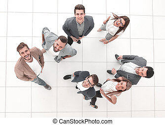 top view. a group of happy young people