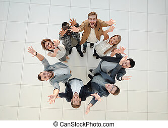 top view. a group of successful young people