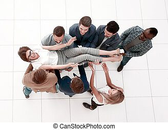 top view. a triumphant business team.photo with copy space