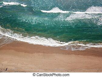 Top view aerial photo of a beach