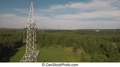 Top view, AERIAL: power lines. Electric high-voltage...