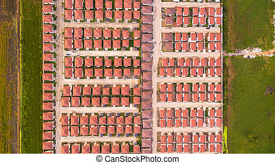 Top view aerial shot of Housing estate, Shot from drone