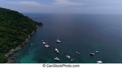 Top view aerial shot of ship port at Koh Racha Yai island,...