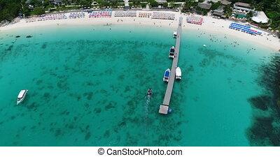 Top view aerial shot of ship port at Koh Racha Yai island