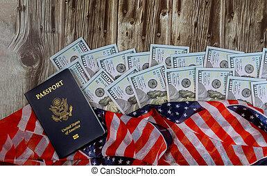 Top view american flag on US dollars USA economic American Passport